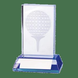 Glas med golfboll och peg lasergraverat inuti glaset