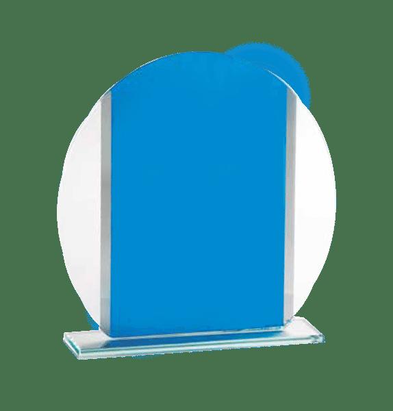 Glas med blått och silver